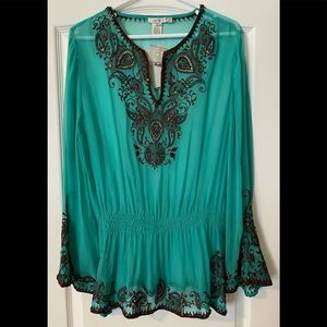 """NWT Cache """"Agean"""" Silk Tunic Blouse With Sequins"""